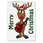 BY- Rudolph Reindeer Playing Guitar Cards
