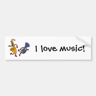 BY- Saxophone and Trumpet Dancing Cartoon Car Bumper Sticker