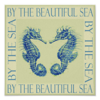 by the beatiful sea- yellow seahorses poster