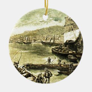 By the Docks Victorian Vintage Illustration Ceramic Ornament