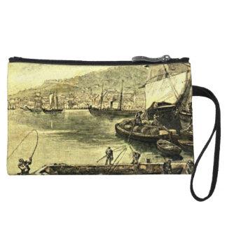 By the Docks Victorian Vintage Illustration Wristlet Wallet