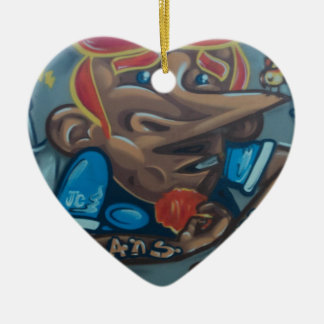 By the face adorno navideño de cerámica en forma de corazón