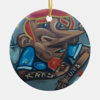 By the face adorno navideño redondo de cerámica