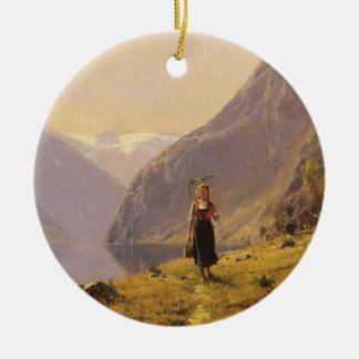By the Fjord (Norwegian) by Hans Dahl Double-Sided Ceramic Round Christmas Ornament
