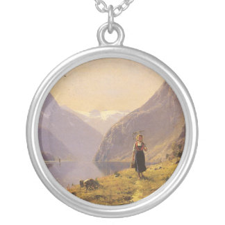 By the Fjord (Norwegian) by Hans Dahl Round Pendant Necklace