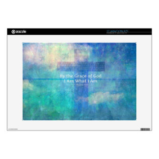"""By the grace of God I am what I am - BIBLE VERSE 15"""" Laptop Skin"""