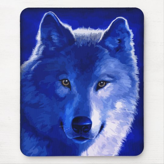 By The Light of the Moon Blue Wolf Mousepad