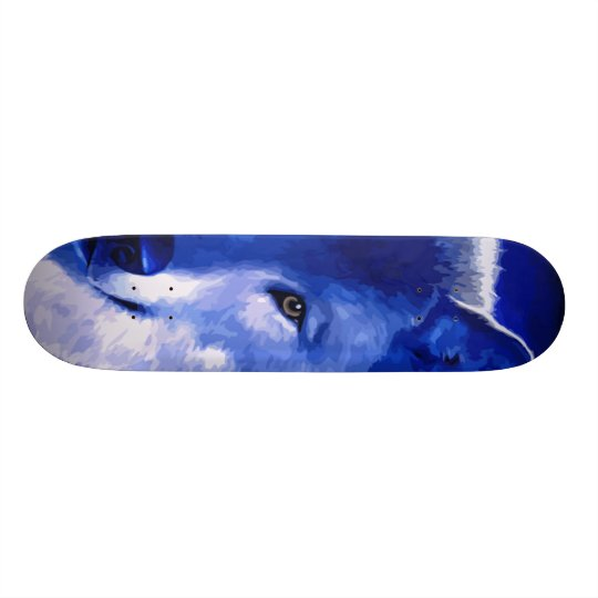 By The Light Of The Moon Blue Wolf Skateboard Zazzle Com