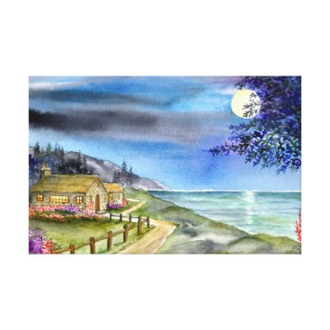 Beach Themed By The Light of The Silvery Moon Canvas Print
