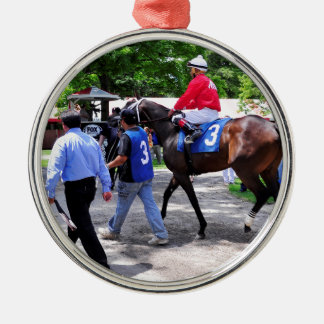 By the Moon Round Metal Christmas Ornament