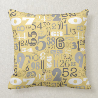 By The Numbers Mustard & Gray Pillow