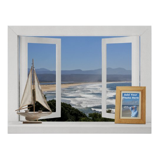 By the Ocean -- Customizable Open Window View Poster