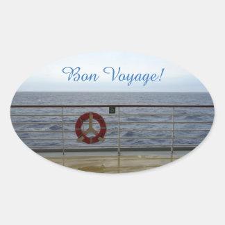 By the Railing Bon Voyage Oval Sticker