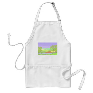 By The River. Country scene, art. Adult Apron