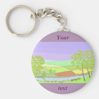 By The River. Country scene, art. Key Chains