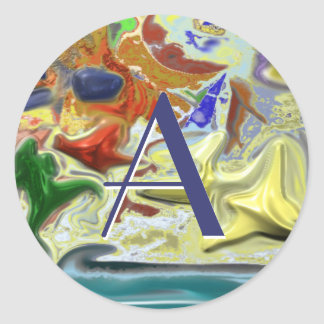 By the sea Abstract Design Classic Round Sticker