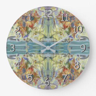 """""""By the Sea"""" Abstract in Pastels Backward in Time Large Clock"""