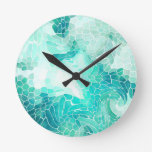 By the Sea, abstract mosaic print. Round Clock