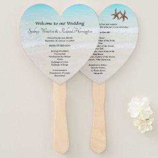Heart Shaped Wedding Program Fan Favor Beach Ceremony