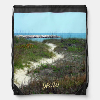 By the Sea Monogrammed Drawstring Bag