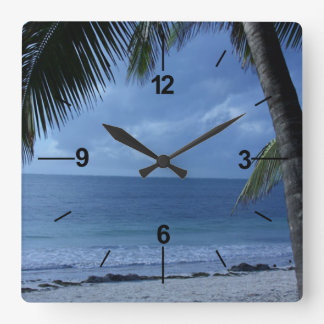 By the sea square wall clock