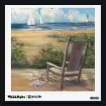 "By the Sea Wall Sticker<br><div class=""desc"">&#169; Carol Rowan / Wild Apple.  An image of a woden chair overlooking the sea. White clouds and a blue sky can be seen on the image.</div>"