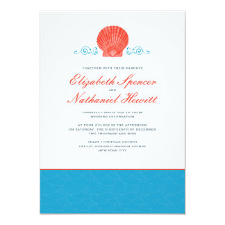 By The Sea Wedding Invitation in Red & Blue
