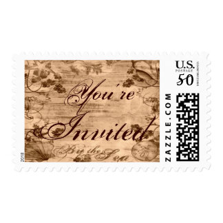 By the Sea You're Invited Postage Stamp