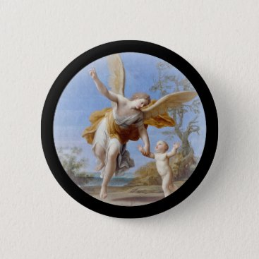 Beach Themed By the Seashore Angel and Child Button