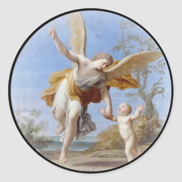 By the Seashore Angel and Child Classic Round Sticker