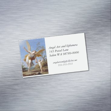 Professional Business By the Seashore Angel and Child Magnetic Business Card