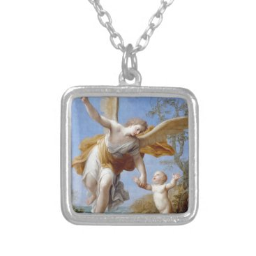 Beach Themed By the Seashore Angel and Child Silver Plated Necklace