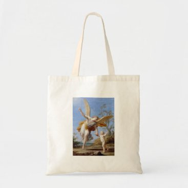Beach Themed By the Seashore Angel and Child Tote Bag