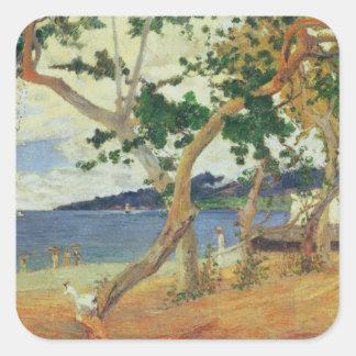 By the Seashore, Martinique, 1887 (oil on canvas) Square Stickers