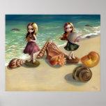 By the Seaside beach ocean fairy Art Print