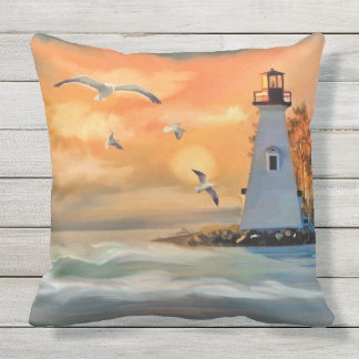 By The Seaside Outdoor Throw Pillow