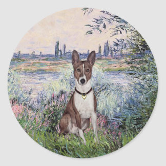 By the Seine - Basenji Classic Round Sticker