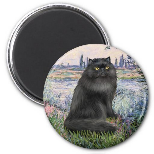By the Seine - black Persian cat 2 Inch Round Magnet