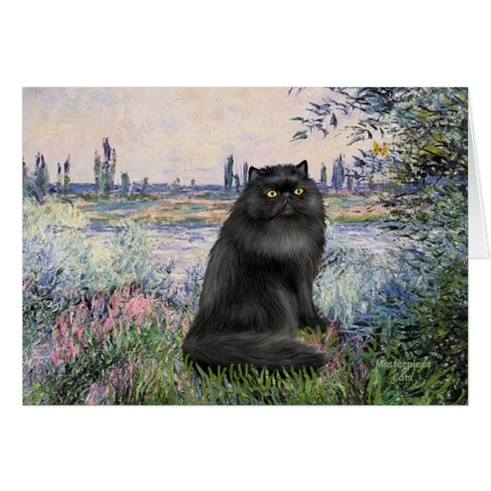 By the Seine - black Persian cat Card