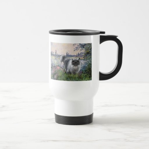 By the Seine - Blue Smoke Persian cat 15 Oz Stainless Steel Travel Mug