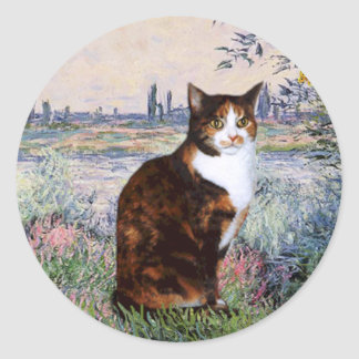 By the Seine - Calico cat Classic Round Sticker