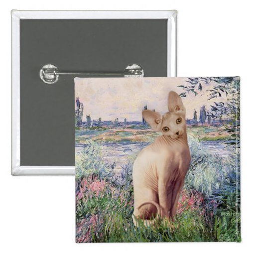 By the Seine - Cream Sphynx cat 2 Inch Square Button