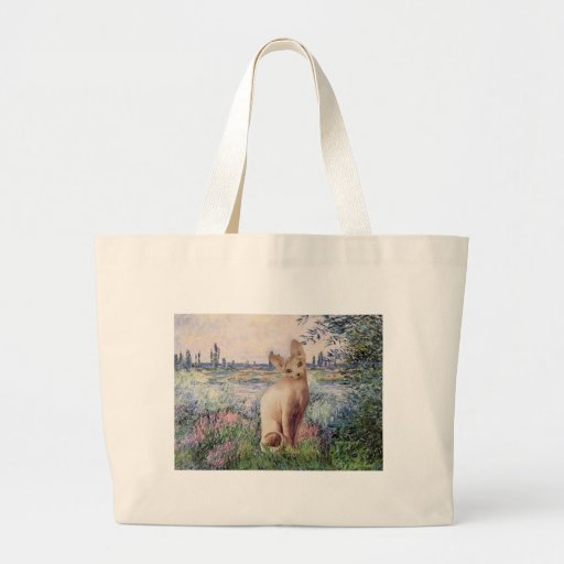 By the Seine - Cream Sphynx cat Tote Bags