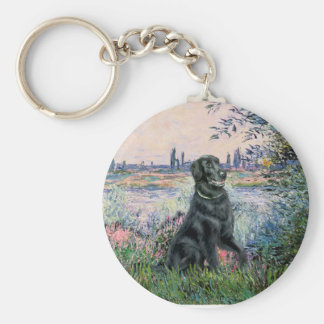 By the Seine - Flat Coated Retriever Key Chains