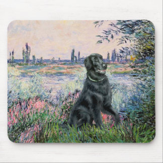 By the Seine - Flat Coated Retriever Mouse Pad