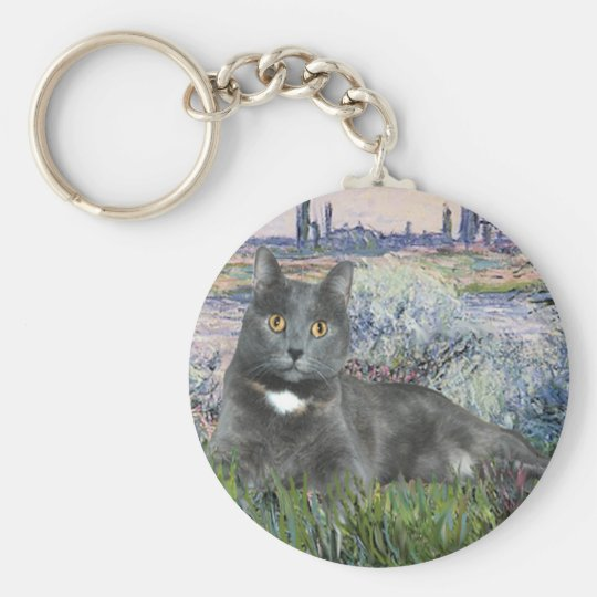 By the Seine- Grey cat Keychain