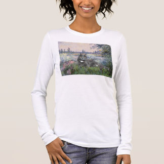 By the Seine- Grey cat Long Sleeve T-Shirt