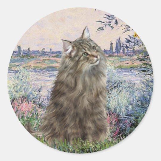 By the Seine - Norwegian Forest Cat Classic Round Sticker