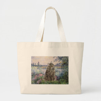 By the Seine - Norwegian Forest Cat Large Tote Bag