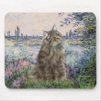 By the Seine - Norwegian Forest Cat Mouse Pad